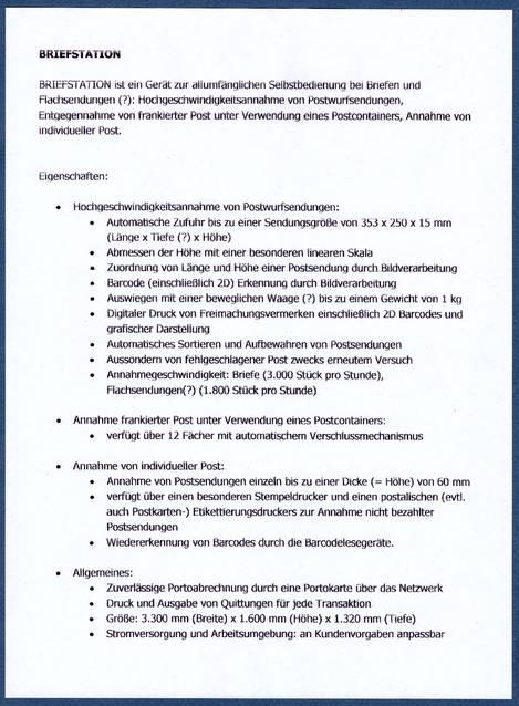 Deutsche Postautomation: Briefannahme - dies und das