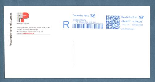 Deutsche Postautomation Freimachung Mit Freistempel